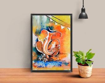 Ganesha wall art, Ganesha Art Print, modern ganesh painting, abstract ganpati, gift, framed ganesha print ready to hang indian original art