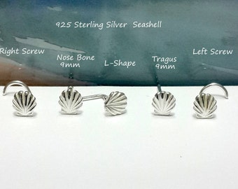 Sterling Silver Seashell Nose stud, Silver Nose Screw, 16g 18g 20g 22g, Nose Bone,L-Shaped,Tragus Stud,Right and Left Nostril, Holiday Gift