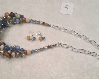 "Blue and Beige Bubble Necklace & Earring Set with Various Multiple Beads that is a 20.5"" stunning addition to your jewelry"