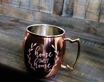 Custom sand-etched 20 oz Moscow Mule Mug