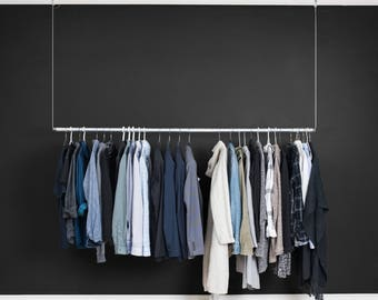 Modern Industrial Floating Clothes Rack | Large Hanging Clothing Rack