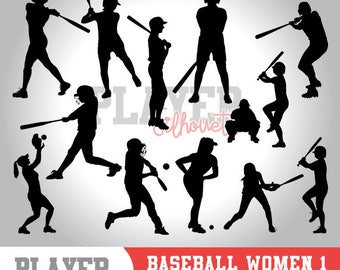 Baseball Women silhouette clipart, baseball player,softball clipart, athlete silhouette,baseball svg,baseball cut file,cameo or cricut,A-008