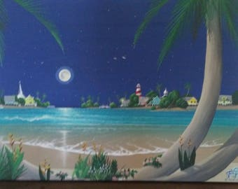 "Original Acrylic Painting - ""Luna en la Laguna"" - On Canvas (32X36)"