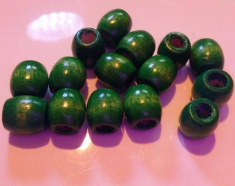 15 Green Wooden Barrel beads large