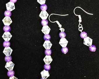 Purple and Silver Bracelet and Earring set