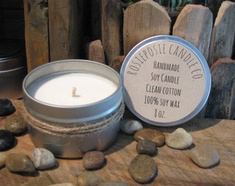 Clean Cotton 8 oz. Soy Wax Candle Travel Tin Handmade