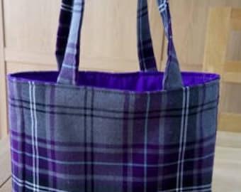 Purple and Grey tartan bag