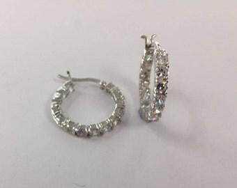 Rhodium-Plated 925 Sterling Silver & Cubic Zirconia Hoop Earrings