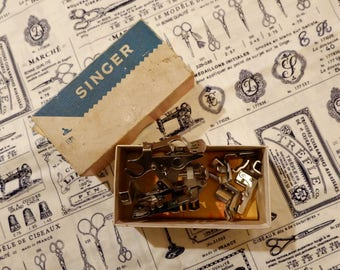 Vintage Singer Sewing Machine Attachments BOXED