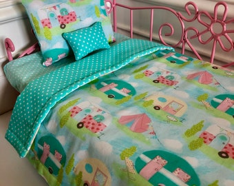 "18"" Doll Bedding Set/American Girl Bedding/3pc Doll Bedding Set/Doll Bedding/Camping Fun"