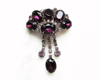 Vintage D&E Juliana Purple Rhinestone Dangle Brooch