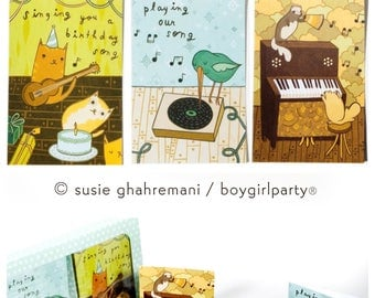 greeting cards, mixed card set, All Occasion cards Box Set, Set of 18 Music Cards set, notecard set, boygirlparty susie ghahremani
