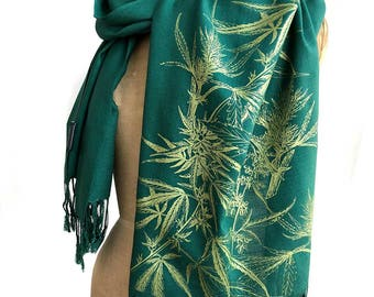 Marijuana Pashmina Scarf. Cannabis leaf printed scarf, linen weave. Gift for caregiver, medical marijuana patient, grower, stoner gift ideas