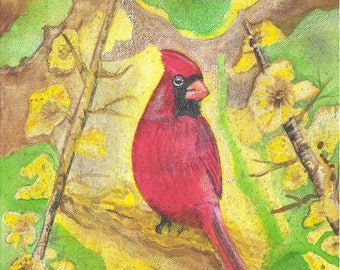Red Cardinal Print, Cardinal Watercolor, Cardinal Painting, Cardinal Art, Red Cardinal bird, Bird Watercolor, Bird Painting, Red Bird, Art