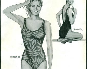 Stretch & Sew 1301 EASY TANK SUIT Swimsuit Swim Suit Ann Person Bust 30 - 46 Optional Bra Cups, Leg Heights ©1991