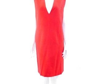 Vintage Red Wool Jumper // Sleeveless Red Dress //  Warm Winter Dress// Casual  Womens Dress // 135