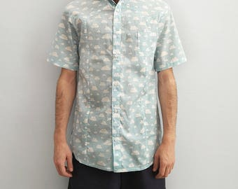 Renegade sky blue cloud print short sleeve button down shirt | Mens Shirt diy gift for him