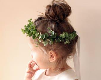 Flower girl crown, Eucalyptus wreath, Greenery hair wreath, Toddler Photo Prop, Faux eucalyptus girl crown, Photography prop (12+ months)