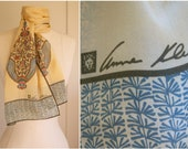 1970s Anne Klein silk scarf / India, Tree of Life + peacocks / rolled edges, earth tones, gold, teal, copper, rust, khaki, 57x10