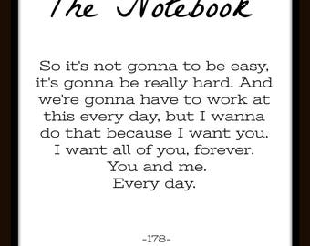 The Notebook Book Page Typography Art Sign - You choose size 8x10, 16x20, 20x24, 24x36 & type of sign material