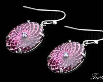 Vintage Swarovski Glass Earrings, Art Deco Crystal Rhinestone Jewelry, Purple Drop