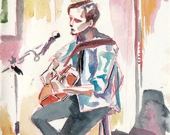 Young Man with Guitar - Painting of a Musician - Music Art for Musicians - Watercolor and Ink Art of Guitarist - Original Painting
