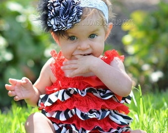 Red Black Satin and Lace Romper,Baby Girl Ruffled Birthday Outfit,Baby Gift Red Black,Baby Romper Outfit,Red and Black Birthday Baby Girls