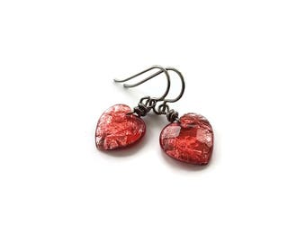 Red heart drop dangle earrings - Hypoallergenic pure titanium and resin earrings