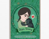Dian Fossey, women in science illustration, mountain gorilla, Dian Fossey print, gift for science teacher, women in stem, kids science print