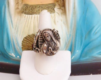 Stunning Artisian GUADALUPE  925 Ring (10g)- Protection that you need daily- Size adjustable and very very heavy at 34.1g