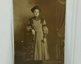 Edwardian Lady Photo Postcard, Woman in High Collar Checked Dress Antique Portrait Photograph