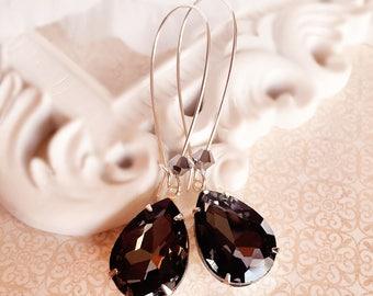 Charcoal Silver Earrings - Black Teardrop Earrings - Crystal Earrings - Bridesmaid Gifts - SOMERSET Black