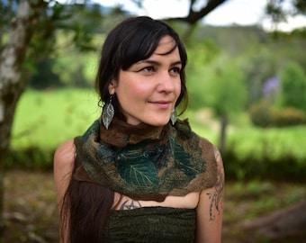 Felt Cowl-Woodland Neck Warmer-Felt Leaf Cowl-Pixie Shawl-Wool Scarf-Felt Leaves-Fairy Costume-Wearable Art-Shawl-Nuno Felted Cowl OOAK