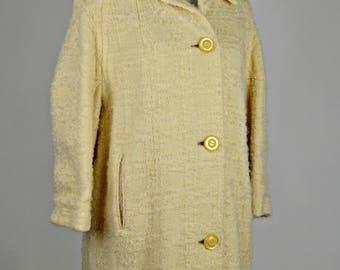 Holiday Coat, Beige Coat, Wool Coat, Winter Coat, Leeds Coat, Vintage 1950s Coats, 50s Coats, Chenille Coat, Oversized Coat, Trendy Coat,