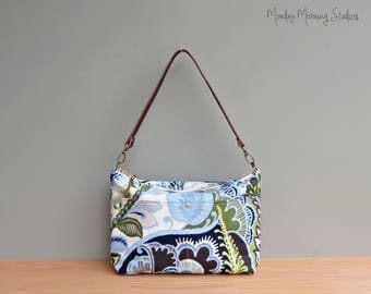 Canvas Handbag in Leafy Blue and Green, Colorful Fabric Shoulder Bag w/ Leather Strap, Casual Everyday Crossbody Purse, Bright Summer Purse