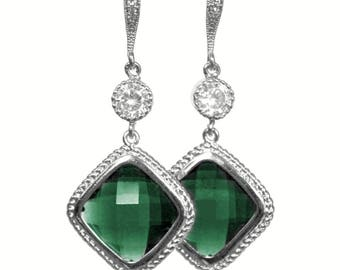 Emerald Green Diamond Shaped Crystals with Cubic Zirconia on CZ Detailed Silver French Earrings