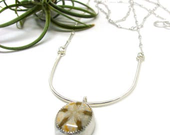 Little Fossilized Sand Dollar Silver Curve Statement Necklace
