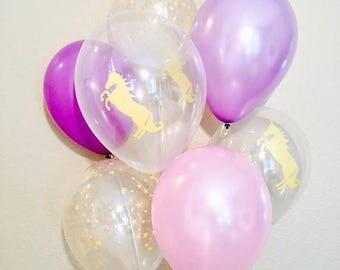 Unicorn Balloons, Purple Latex Mix, Unicorn Balloons, Unicorn Party, Pink and Purple Balloons, Gold Unicorn Latex Balloon, Unicorns