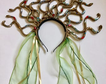Medusa snake headband, gold serpent headpiece, Halloween costume.