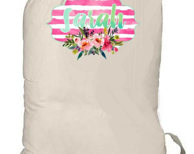Laundry Bag, Personalized totebag, monogrammed bag, college laundry bag, grad gift, graduation present, teen camp bag, watercolor totebag