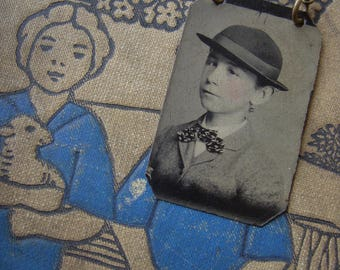 Real Antique Victorian Tintype Necklace - Young Timothy