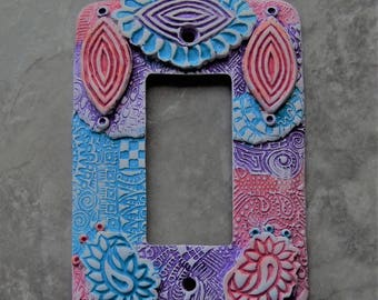 Pastel Paisleys, polymer clay switch plate cover, rocker switch plate, blue, purple, coral, pink,
