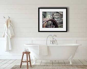 Farmhouse Bathroom Decor, Old Wheel Photograph, Rustic Home Decor, Old Wagon Wheel Photo, Rustic Farmhouse Decor