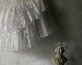 Vintage Crinoline Ruffled Skirt. Tea Length. Romantic Lolita Mori Girl Prairie Petticoat. Recreated Fashion. S-M