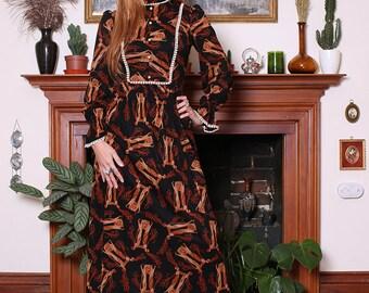 Vintage 70s Black Art Nouveau Print Lace Maxi Dress XS-S
