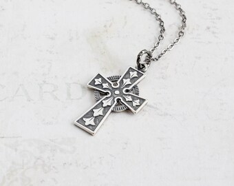 Small Antiqued Silver Cross Pendant Necklace on Gunmetal Plated Chain