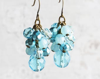 Turquoise Blue Beaded Cluster Earrings on Antiqued Brass Hooks