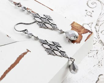 Matte Silver Teardrop and Antiqued Silver Plated Dangle Earrings