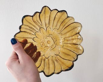 Amber Glass Sunflower Midcentury Modern Catchall Bowl