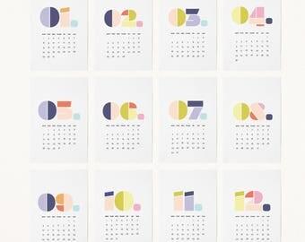 2018 Color Number CALENDAR - 4x6 Calendar, 2018 Desk Calendar, 2018 Wall Calendar, Minimal Calendar, Gift Calendar, Typographic Calendar